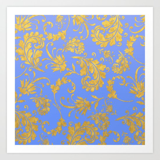 Queenlike- gold floral ornaments on blue backround-luxury pattern Art Print