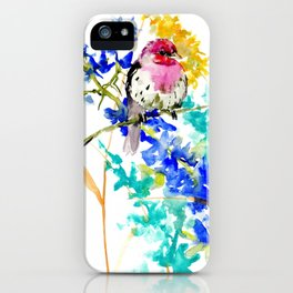 House Finch and Wildflowers iPhone Case