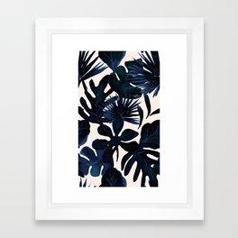 Tropical Leaves - Midnight Framed Art Print