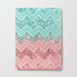 Summer Vibes Glitter Chevron #1 #coral #mint #shiny #decor #art #society6 Metal Print
