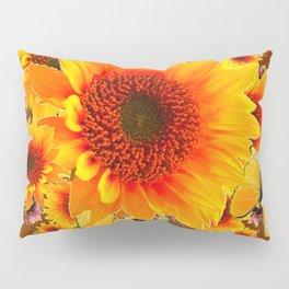 GOLDEN SUNFLOWER BUTTERFLIES MODERN ART DESIGN Pillow Sham