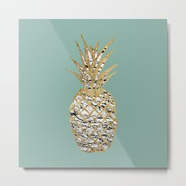 Modern Chic Marble Gold Pineapple Fruit Metal Print