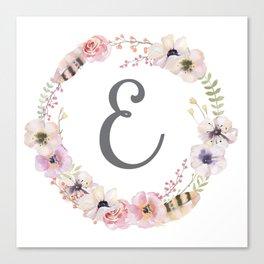 Floral Wreath - E Canvas Print