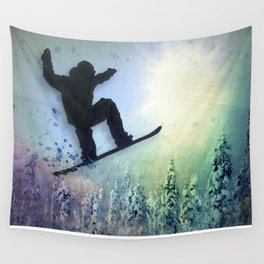 The Snowboarder: Air Wall Tapestry