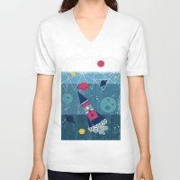 spaceship V-neck T-shirts featuring Spaceship by Kakel