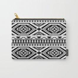Aztec Geometric Print - Black Carry-All Pouch