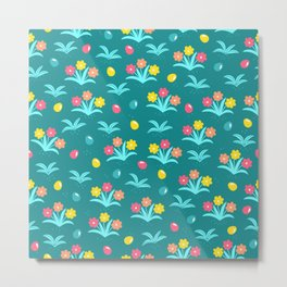 Easter Flower Pattern With Tiny Easter Eggs Metal Print