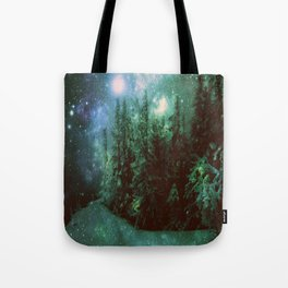 Galaxy Winter Forest Green Tote Bag