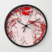 gore Wall Clocks featuring Gore by Jessica Slater Design & Illustration