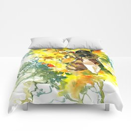 Honey Bee and Flower yellow honey bee design honey making Comforters
