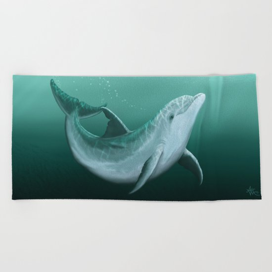 """""""Riversoul"""" by Amber Marine ~ Indian River Lagoon bottlenose dolphin art, digital painting, (c) 2014 Beach Towel"""