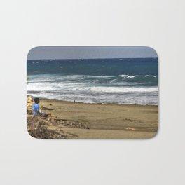 Boy contemplating the endless waves - Beach PR Bath Mat