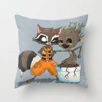 rocket raccoon Throw Pillows featuring Rocket Raccoon & Baby Groot by Whimsette