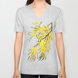 Godlen wattle flower watercolor Unisex V-Neck
