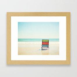 Beach Chair Photography, Colorful Coastal Ocean Landscape Framed Art Print