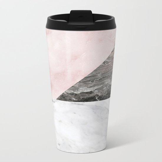 Smokey marble blend - pink and grey stone Metal Travel Mug