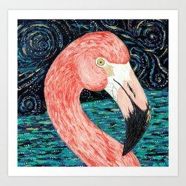 Starry Flamingo Art Print