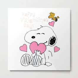 Happy Valentines Day Snoopy Metal Print
