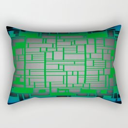 Teal Green Art Deco Pattern Rectangular Pillow