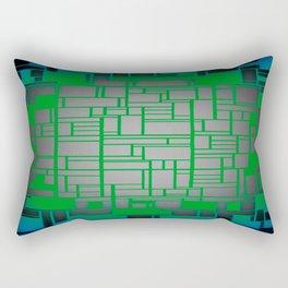 Teal Green Art Deco Pattern Rectangular Pillow