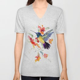Hummingbird, floral bird art, soft colors Unisex V-Neck