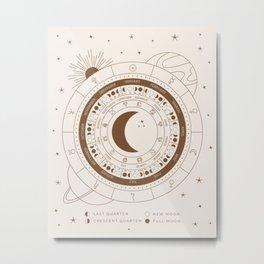 Lunar Calendar 2021 Beige Metal Print