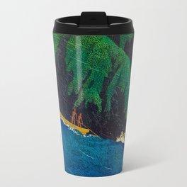 Kawase Hasui Vintage Japanese Woodblock Print Beautiful Green Cliffs Raging Blue Waters With Fisherm Travel Mug