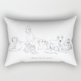 Always stay close together! - Union of fellow dogs Rectangular Pillow
