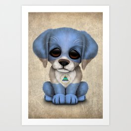 Cute Puppy Dog with flag of Nicaragua Art Print