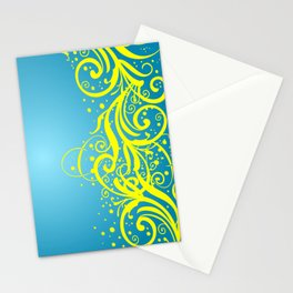 Abstract blue-yellow background Stationery Cards