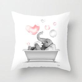 bathroom art, elephant wall art, bathroom wall art, bathroom kids art, bathroom decor, bathroom wall decor, animal art, black and white art Throw Pillow