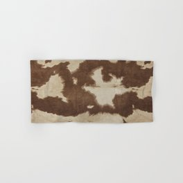 Brown and white cowhide 3 Hand & Bath Towel