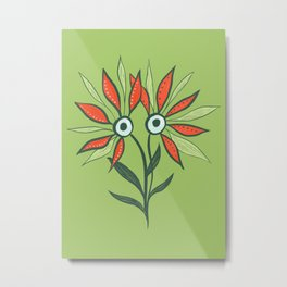 Cute Eyes Flower Monster Metal Print