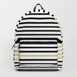 Black and White and Gold Stripes (Striped Pattern) Backpack