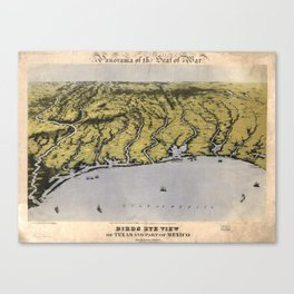Vintage Pictorial Map of The Texas Coast (1861) Canvas Print