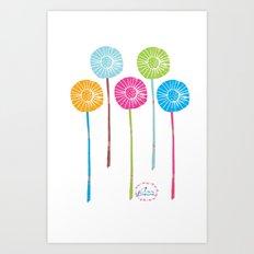 Lino Cut Flowers Art Print