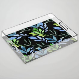 Blue and Green Leaves Acrylic Tray