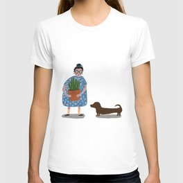 Plant Lady and her Dachshund T-shirt