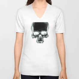 Black Skull on White Unisex V-Neck