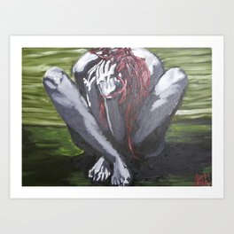 Oil paint on canvas painting of a nude red haired women clutching her hair in the fetal position Art Print