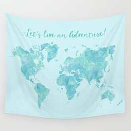 Let's live an adventure world map Wall Tapestry