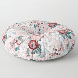 Vintage & Shabby Chic - Lush Antique Redouté Flower Bouquets Floor Pillow