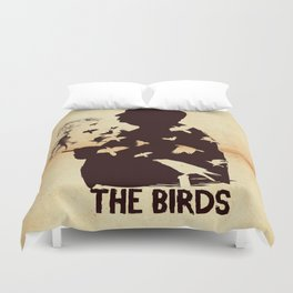 The Birds Hitchcock silhouette art Duvet Cover