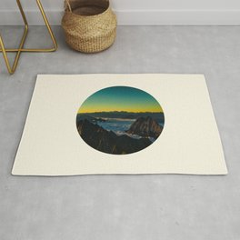 Yellow & Teal Turquoise Ombre Sunrise over Mountain Range Rug