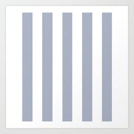 Cadet blue (Crayola) - solid color - white vertical lines pattern Art Print