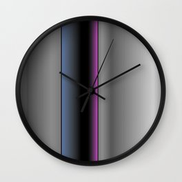 Metallic Grey Gradient with Indigo, Black & Purple Modern Lines Wall Clock