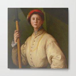 "Pontormo (Jacopo Carucci) ""Portrait of a Halberdier (Francesco Guardi?)"" Metal Print"