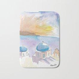 Santorini Blue Domes in Greece Bath Mat