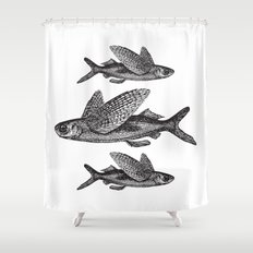Flying Fish   Black and White Shower Curtain
