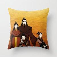 zuko Throw Pillows featuring Happy Family by wolfanita